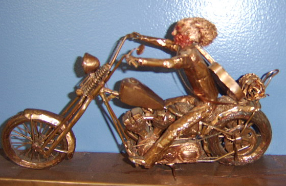 The last copper motorcycle sculpture.