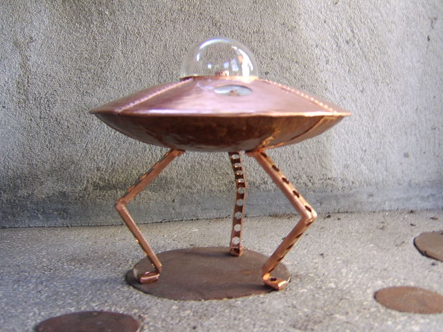 Copper Art UFO Sculpture by Lonnie