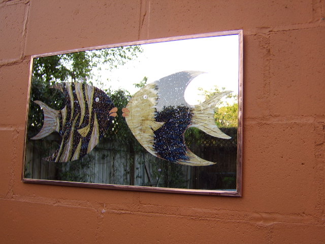 """Fish Kiss"",copper and glass wall art"